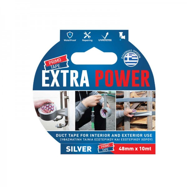 Divani Extra Power Duct Tape for Interior and Exterior Use Silver 48mm x 10m Primo Tape