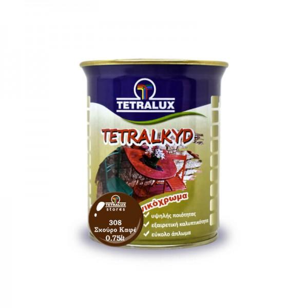 Tetralac Enamel Paint Gloss Dark Brown 308 Tetralux 0.75lt
